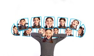 Emotion and mood swing, young Caucasian teenage girl. Different facial expressions around her head collage in carousel, isolated on white background