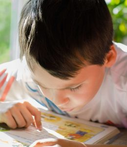 A young boy concentrating on reading a book