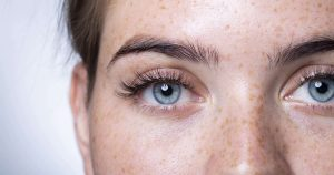 A close up of a woman's eyes