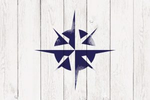 A sign with a painted star